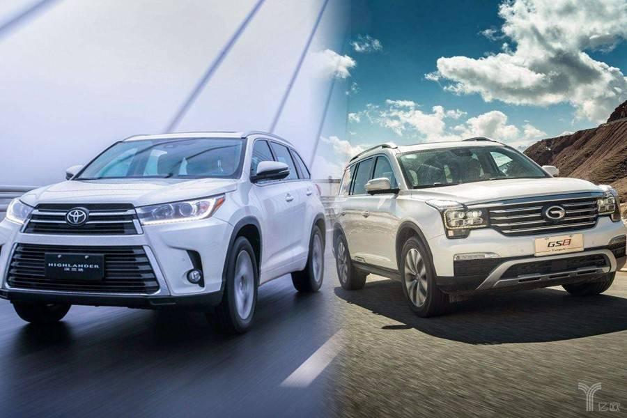7座SUV代表丰田汉兰达和广汽传祺GS8