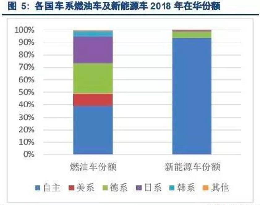 各国车系燃油车及新能源车2018年在华份额