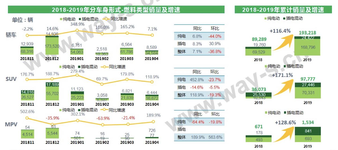 2018-2019年分车身形式-燃料类型销量及增速