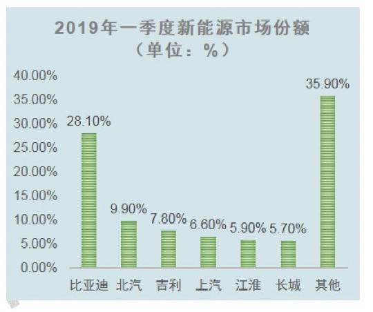 2019年一季度新能源市场份额