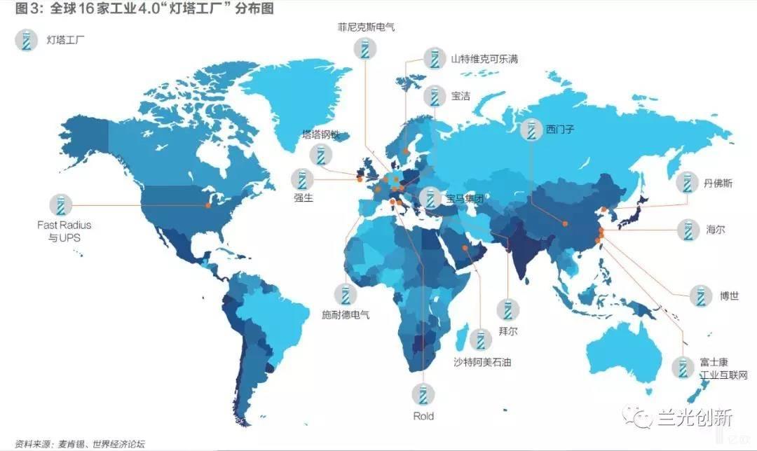 """亿欧智库:全球16家工业4.0""""灯塔工厂""""分布图"""