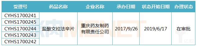 重庆药友制药盐酸文拉法辛片仿制4类申报情况.png