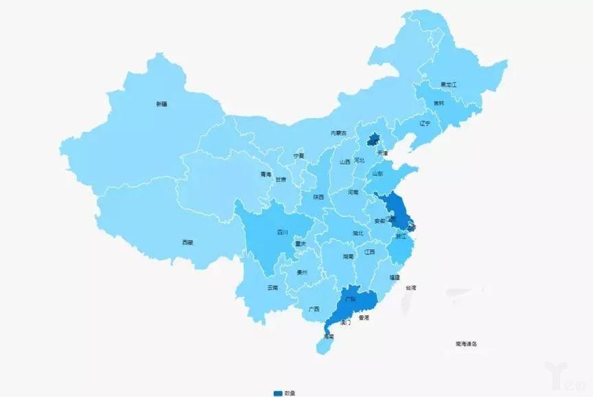 图2  我国各省(市、自治区)创新药企业分布图情况