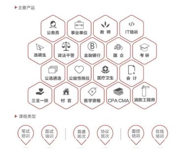 主要产品及课程类型