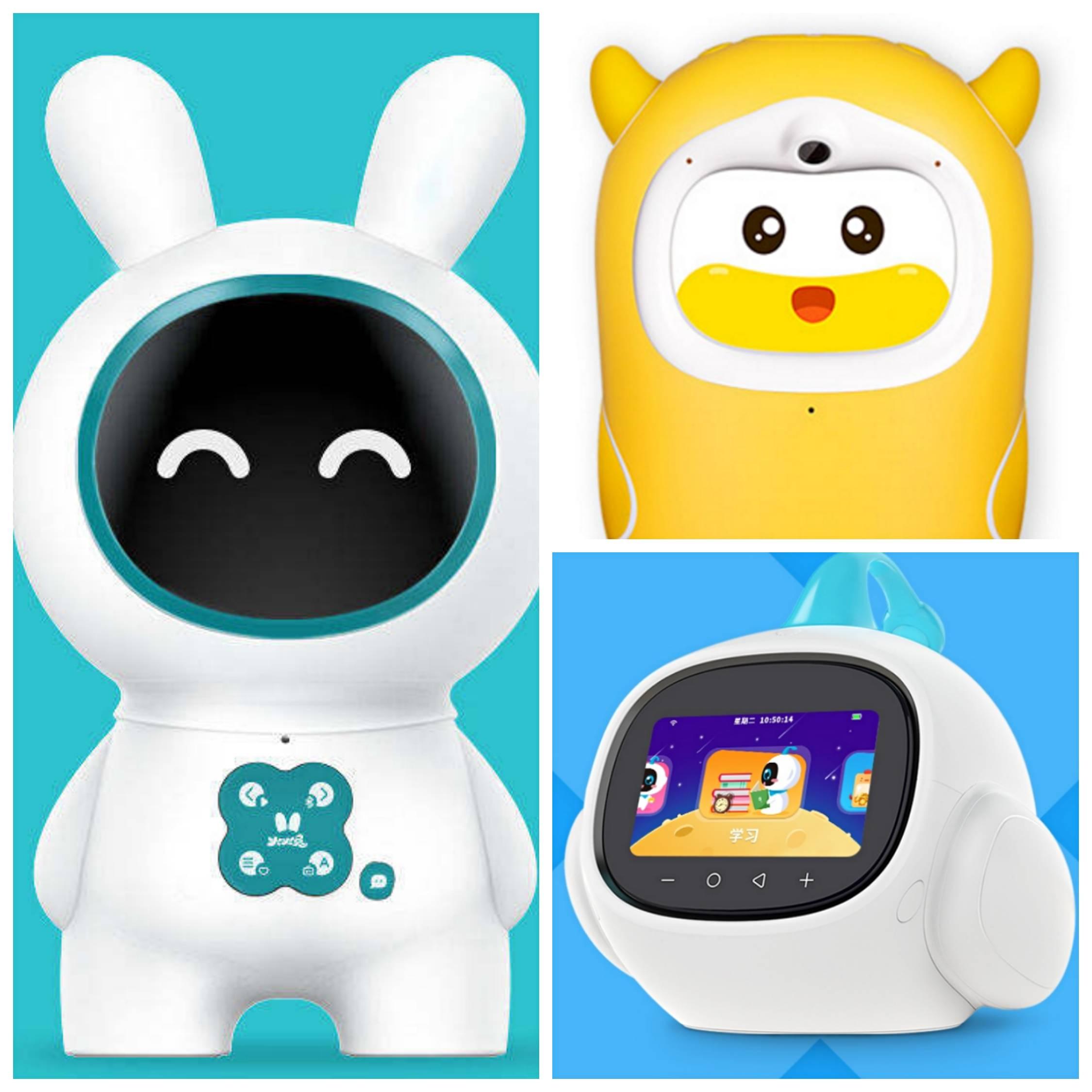 左一为火火兔早教机器人,右上为牛听听绘本版熏听机,右下为智伴早教机器人