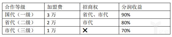 不同加盟费对应不同合作等级.png