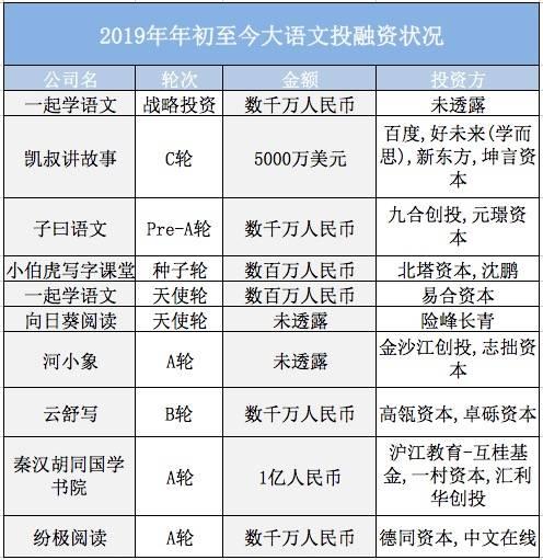 2019年年初至今大语文投融资状况