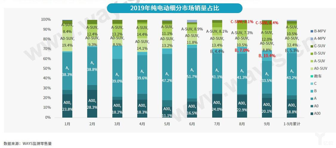 2019年纯电动细分市场销量占比