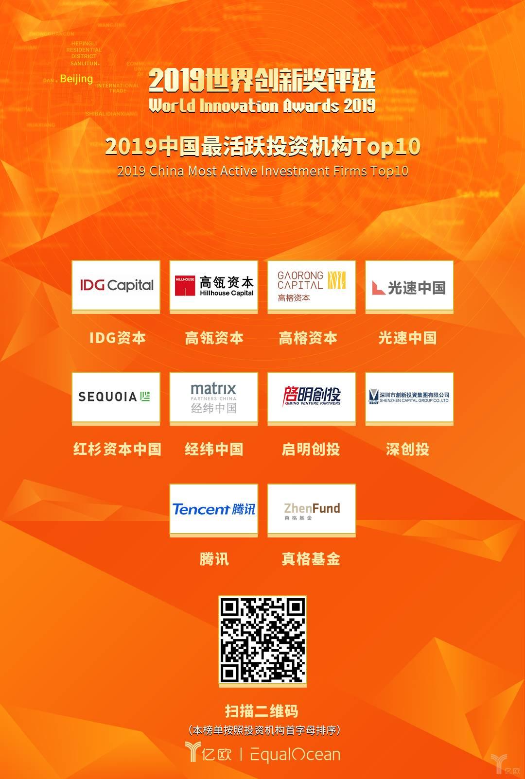 亿欧:2019中国最活跃投资机构Top10