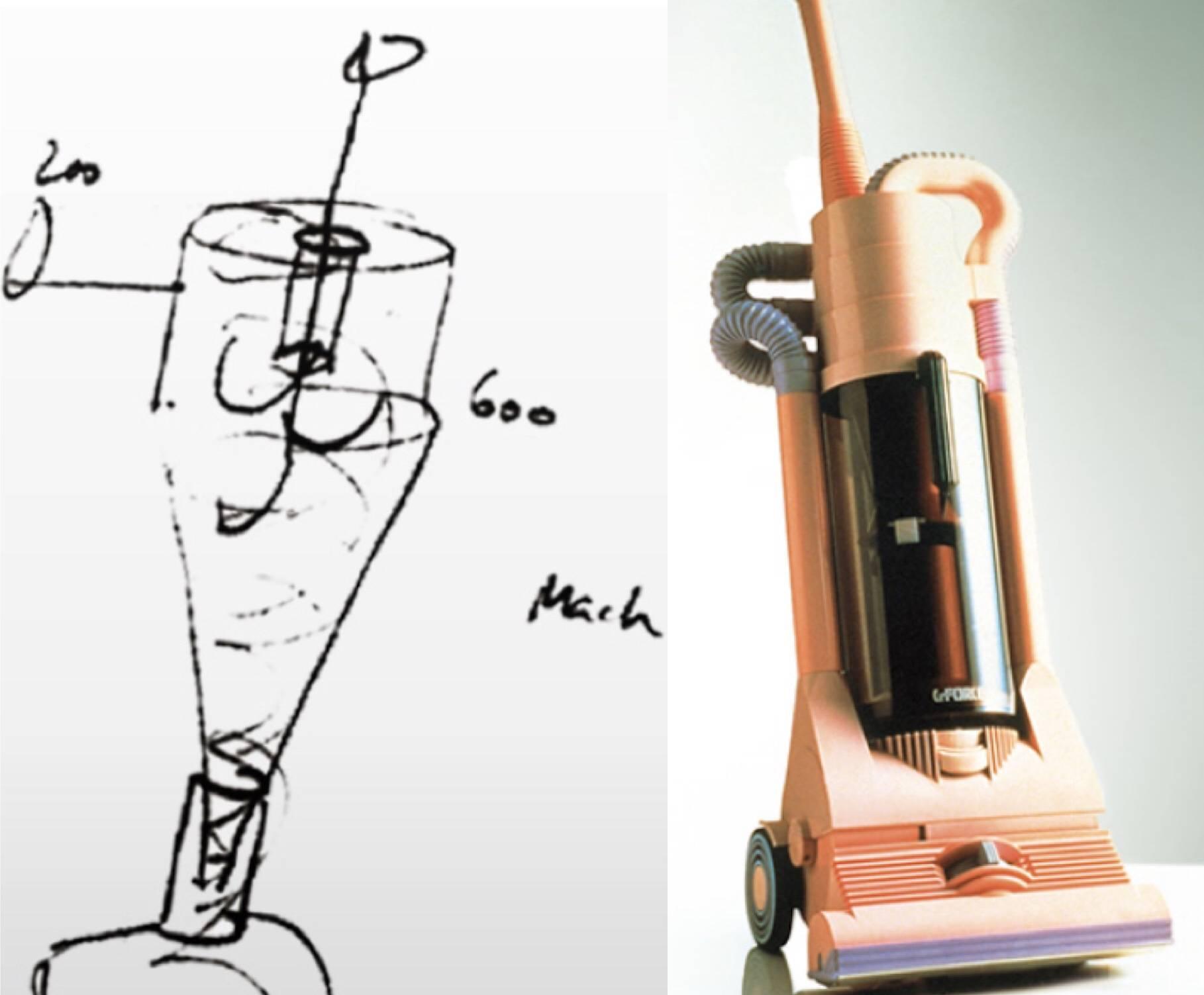 """戴森第一代无尘袋吸尘器手稿(左);戴森第一台无尘袋真空吸尘器""""G-Force""""(右)"""