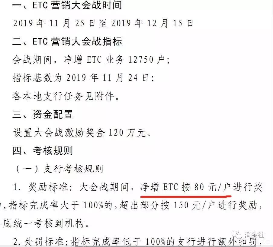 某银行2019年底的阶段ETC推广目标与奖惩规则